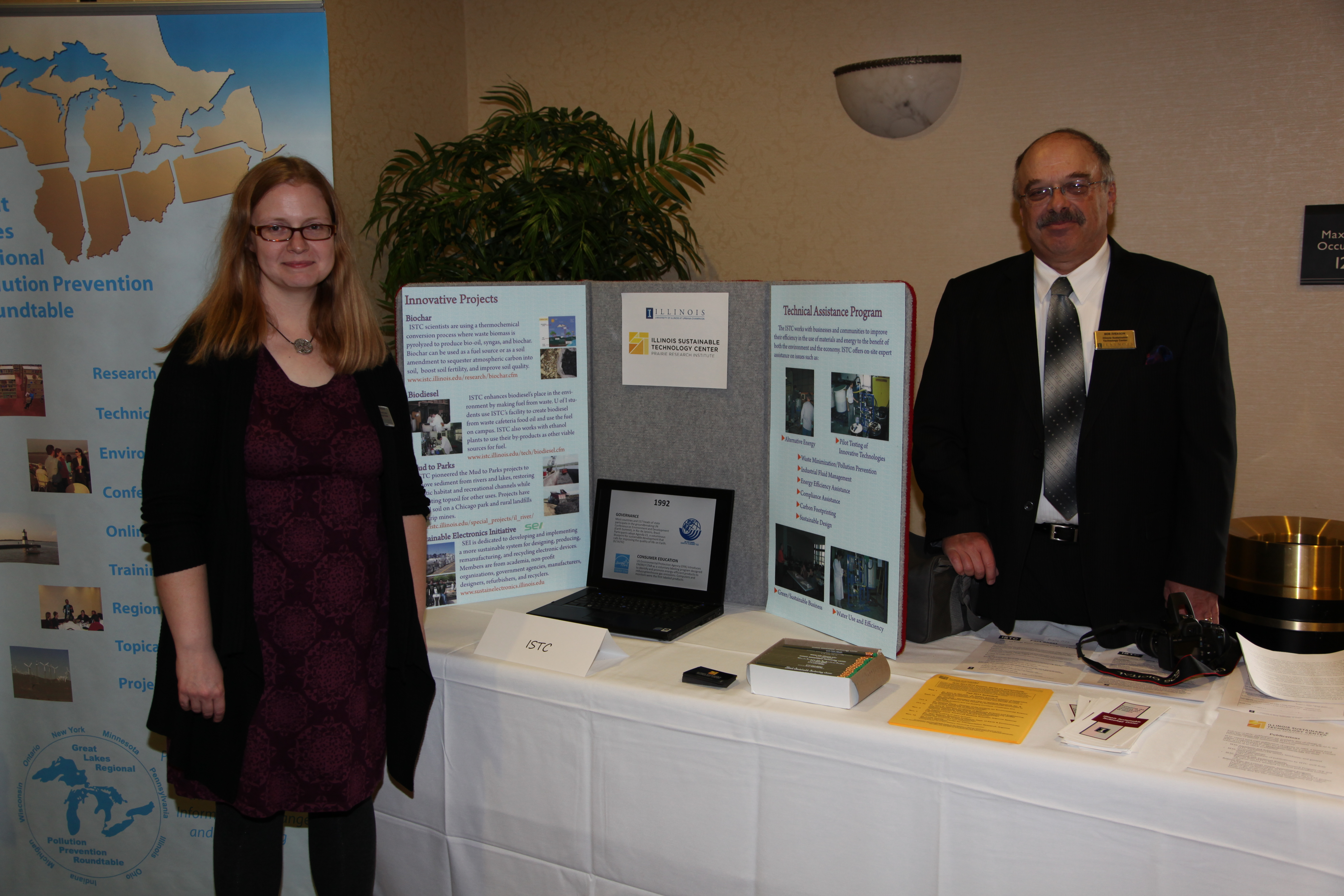 Joy Scrogum and Bob Iverson at ISTC display