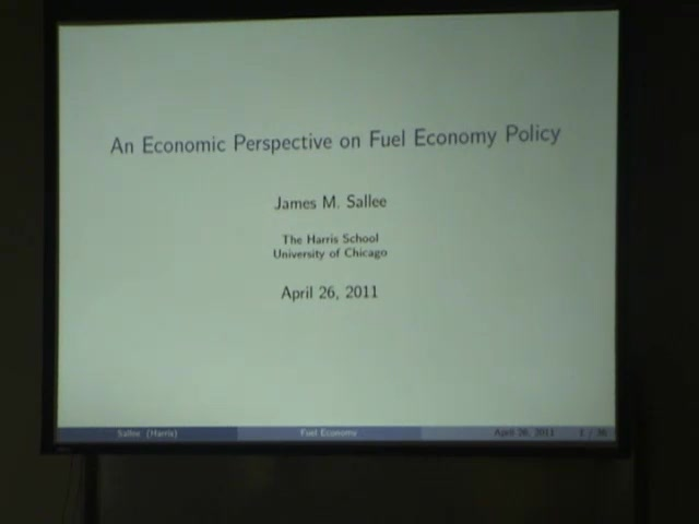 Title Slide: An Economic Perspective on Fuel Economy Policy