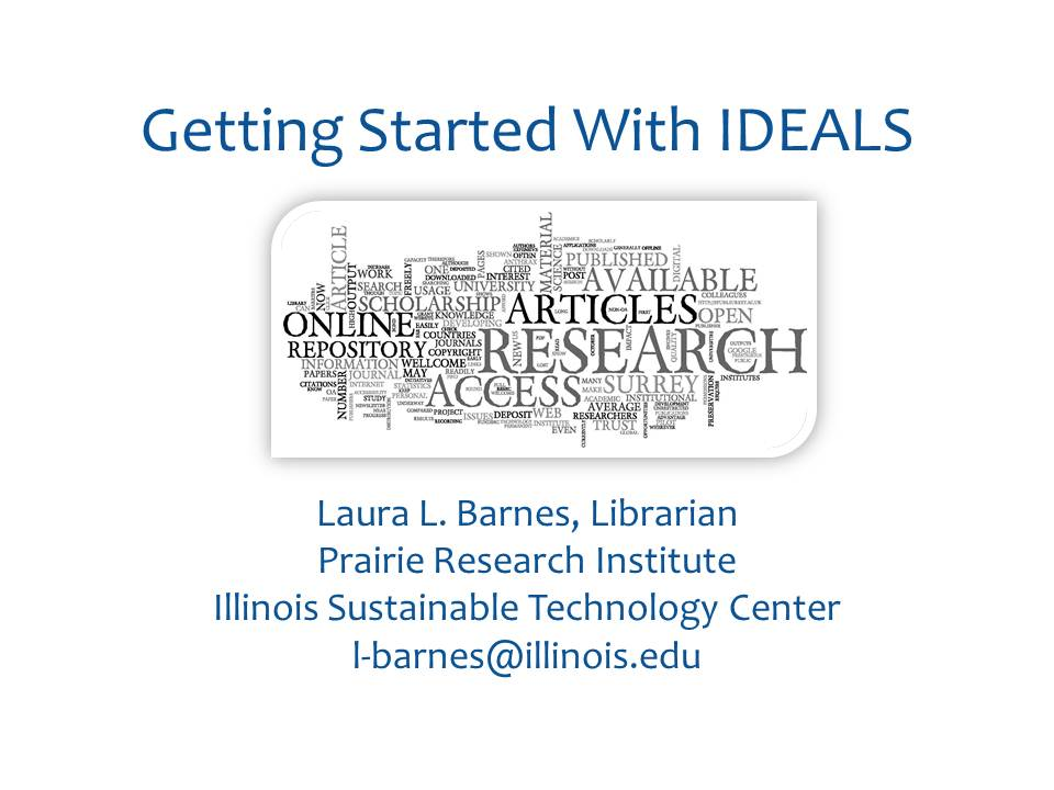 Title Slide: Getting Started with IDEALS