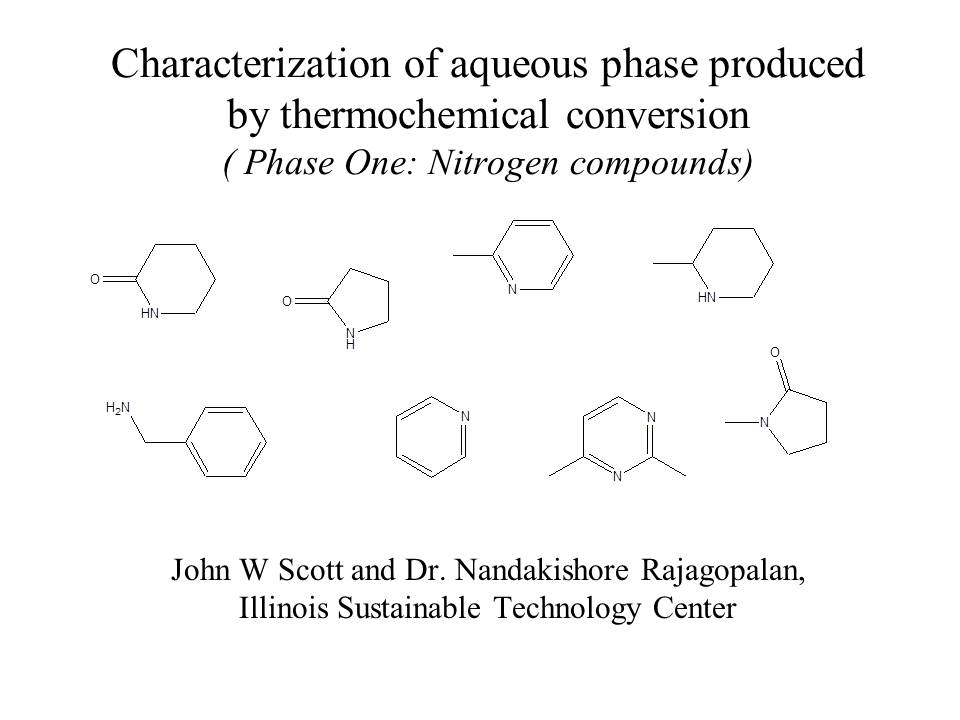 Title Slide: Characterization of Aqueous Phase Production by Thermochemical Conversion