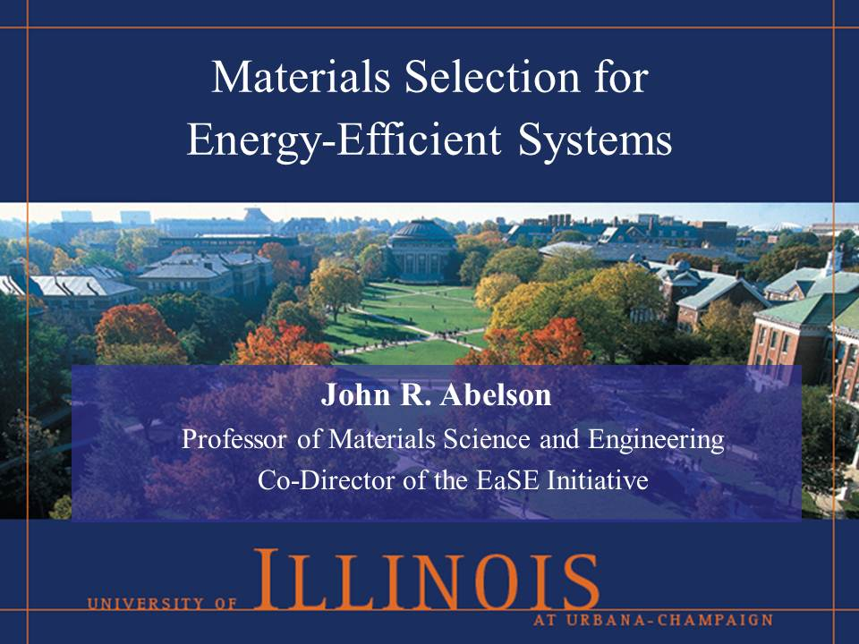 Title Slide: Materials Selection for Energy-efficient Systems