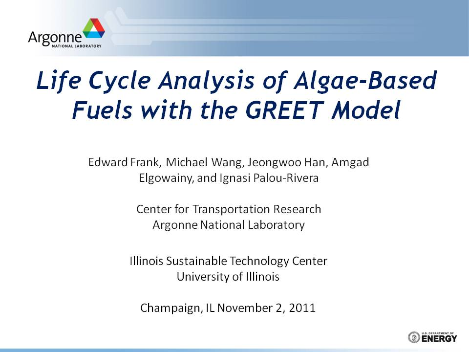 Title Slide: Life Cycle Analysis of algal Biofuels