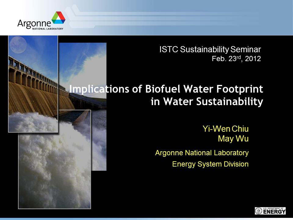 Title Slide: Implications of Biofuel water footprint in water sustainability