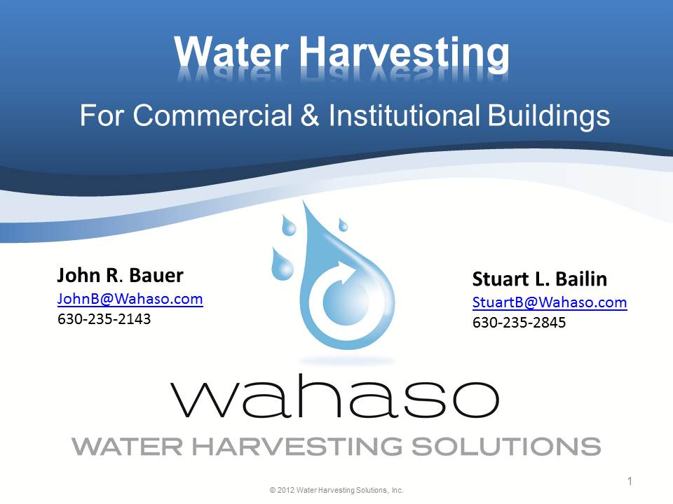 Title Slide: Water Har4vesting for Commercial and Institutional Buildings