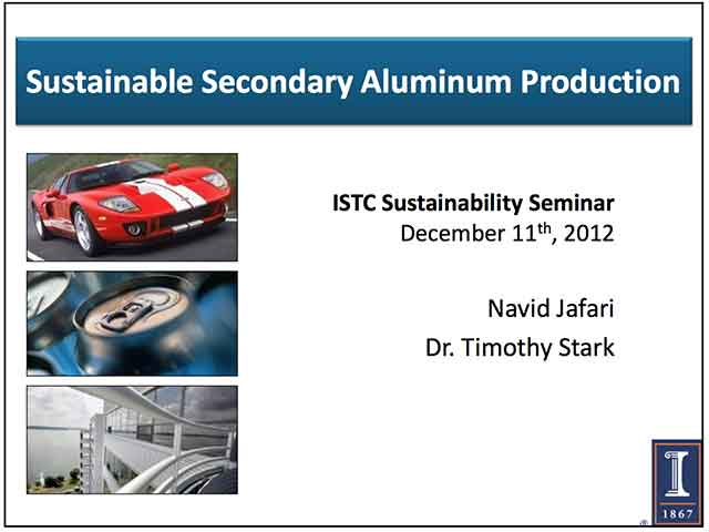 Title Slide: Sustainable Secondary Aluminum Production and Recycling