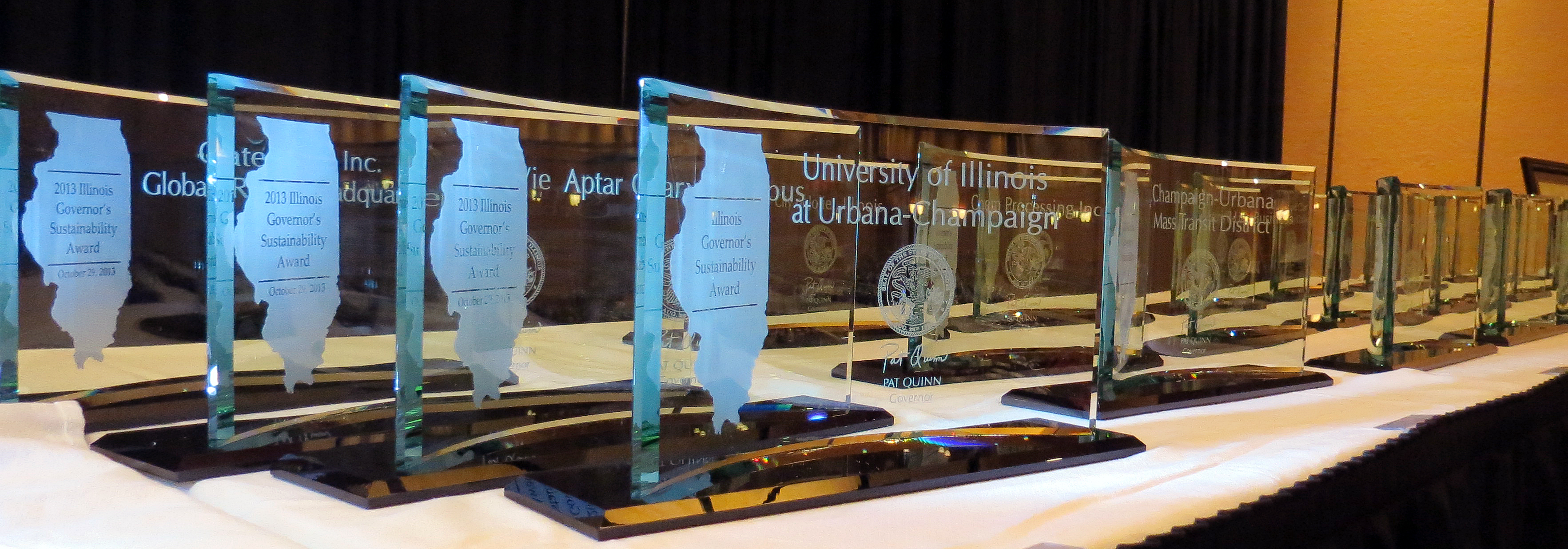Table with Governor's Award Trophies