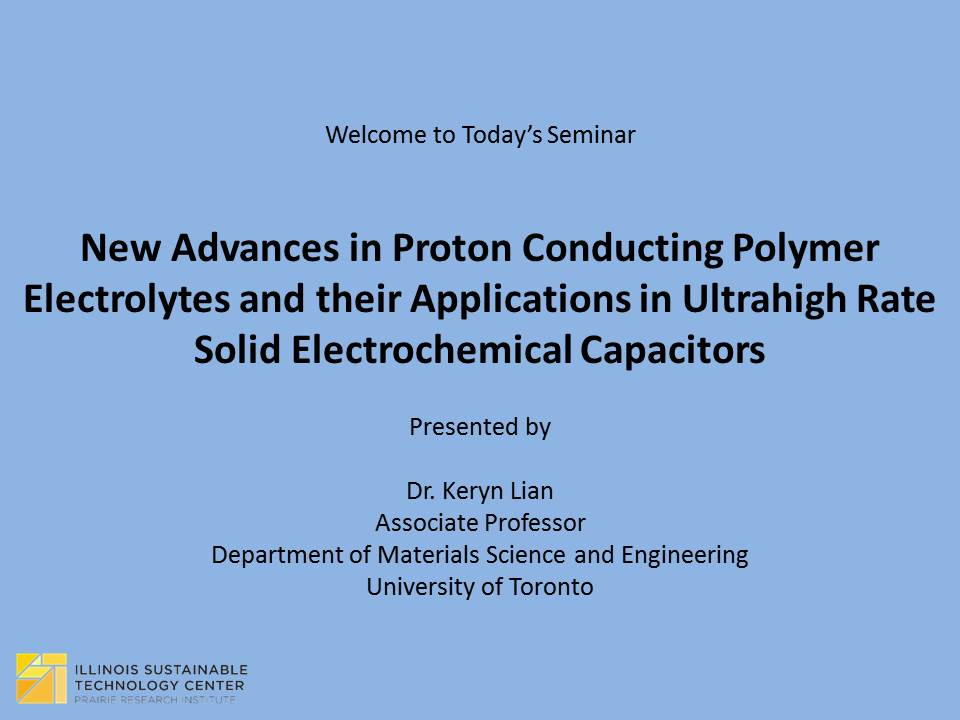 Title Slide: New Advances in Proton Conducting Polymer Electrolytes
