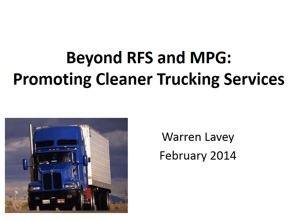 Title Slide: Beyond RFS and MPG