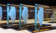 governor's award plaques lined up at the ceremony