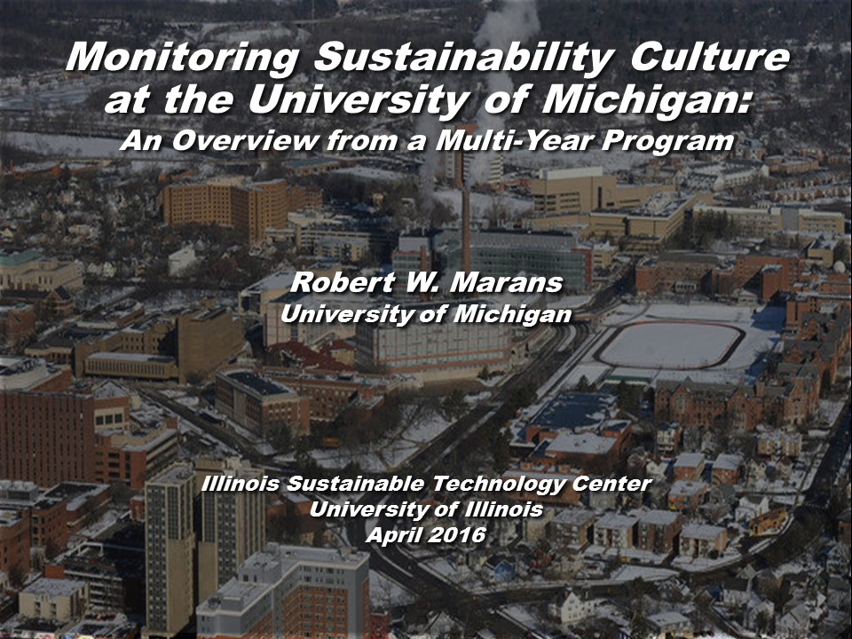 Title Slide: Monitoring Sustainability Culture at U of Michigan
