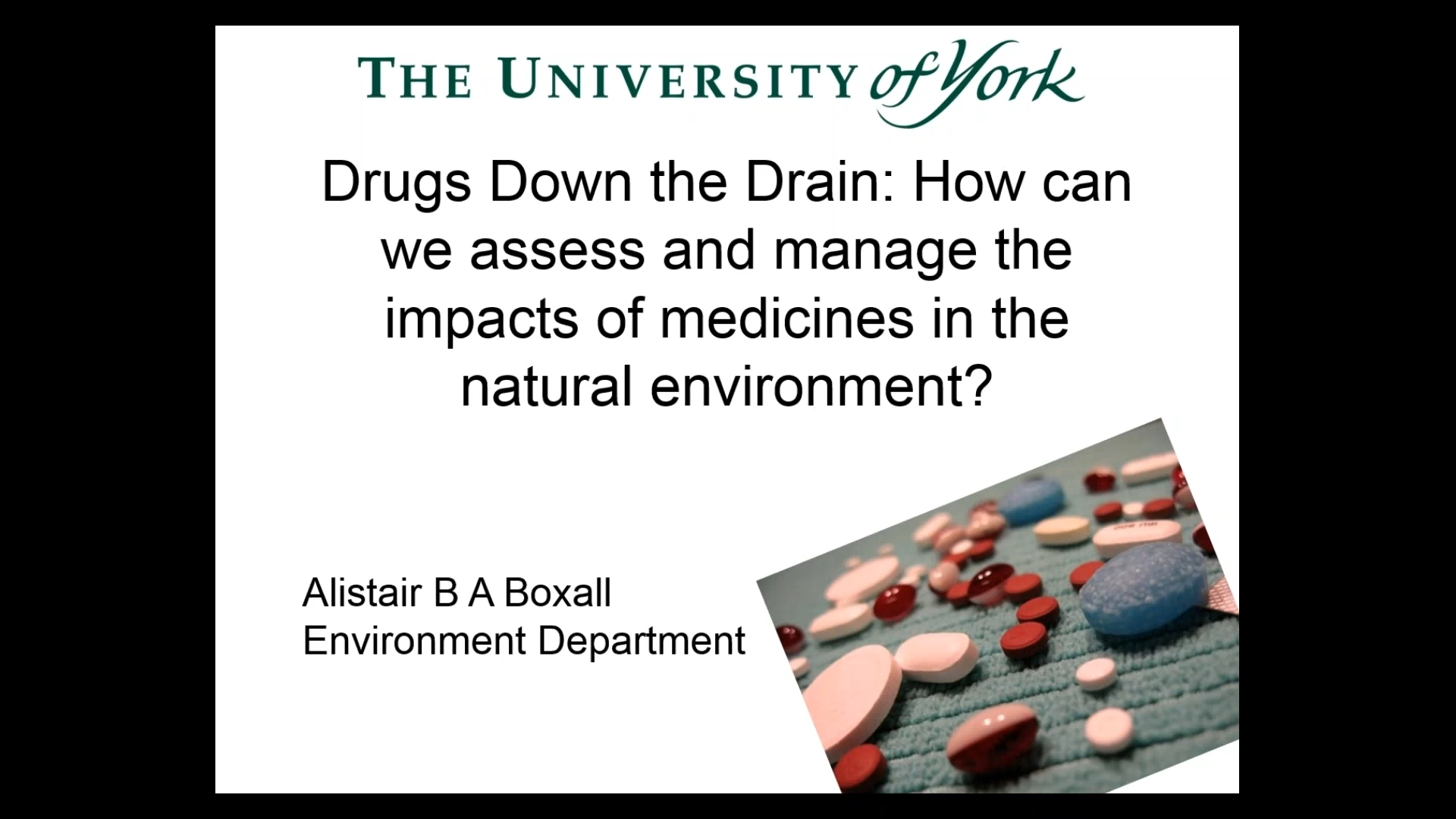 Title Slide: Drugs down the Drain