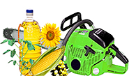 clip art compilation of plants, vegetable oil, and chain saw