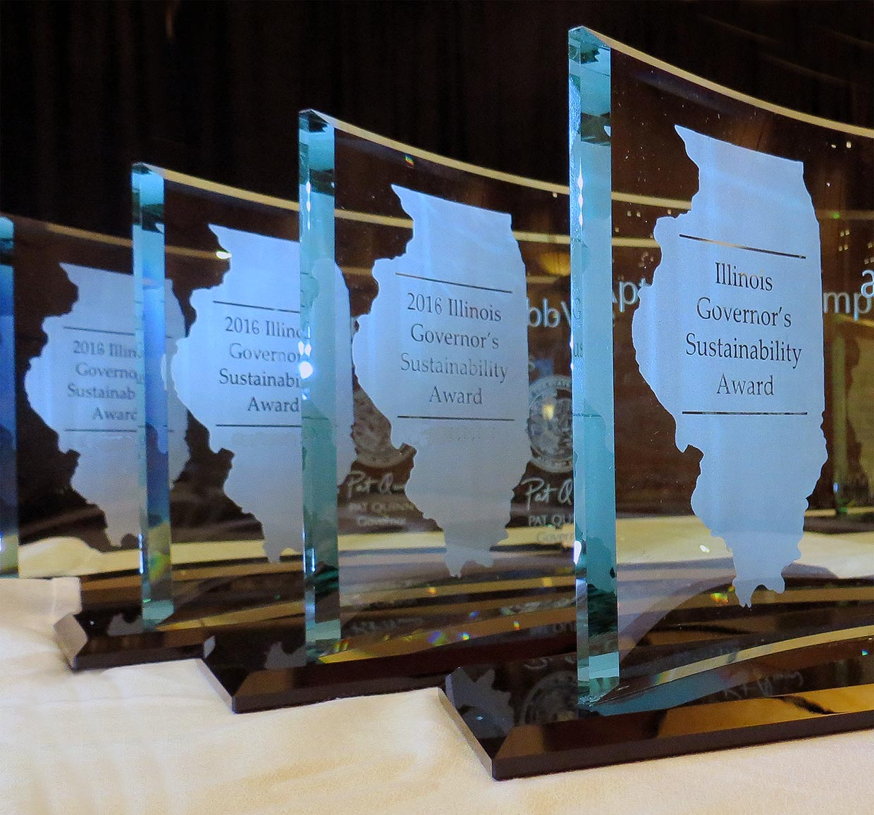 Illinois Governor's Sustainability Award trophies
