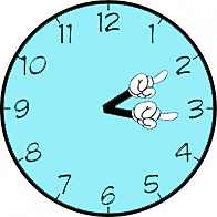 clock with hands pointing at 2 and 3 to represent events