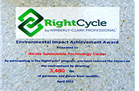 Right Cycle plaque from Kimberly-Clark Professionals. Environmental Impact Achievement Award presented to Illinois Sustainable Technology Center