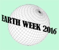Earth Week 2016 words in front of a circle with a grid that makes it look like a sphere