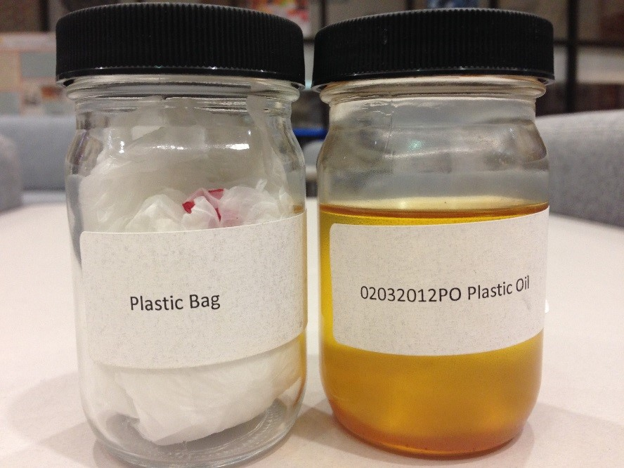 clear glass capped jar with plastic bags inside next to another clear glass capped jar that contains oil made from plastic bags
