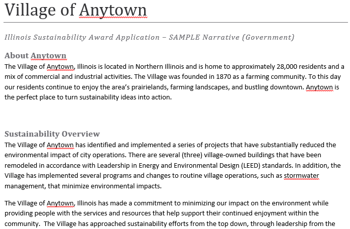 link to Village of Anytown narrative example