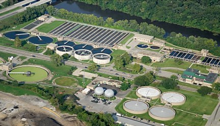 aerial picture of a wastewater treatment plant