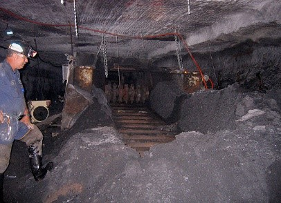 workers inside a coal mine