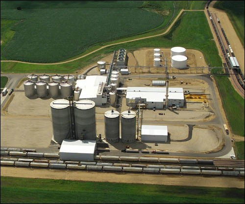 aerial view of an ethanol plant
