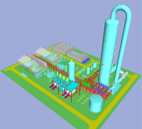 A vibrantly colored three dimensional model of a high-pressure carbon dioxide capture unit.