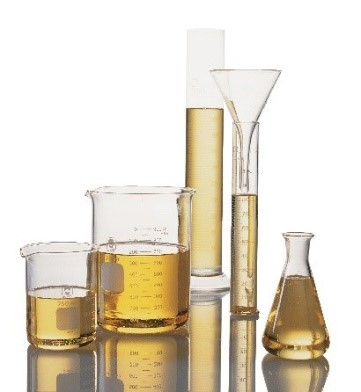 vegetable oil in lab glassware