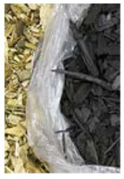 wood chips on the left size and biochar made from the wood chips on the right side