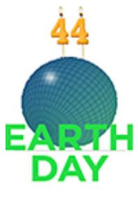 a blue-green circle with a grid pattern make it look like a sphere. the sphere has two candles in the shape of the number 4 to form the number 44 for Earth Day's 44th birthday